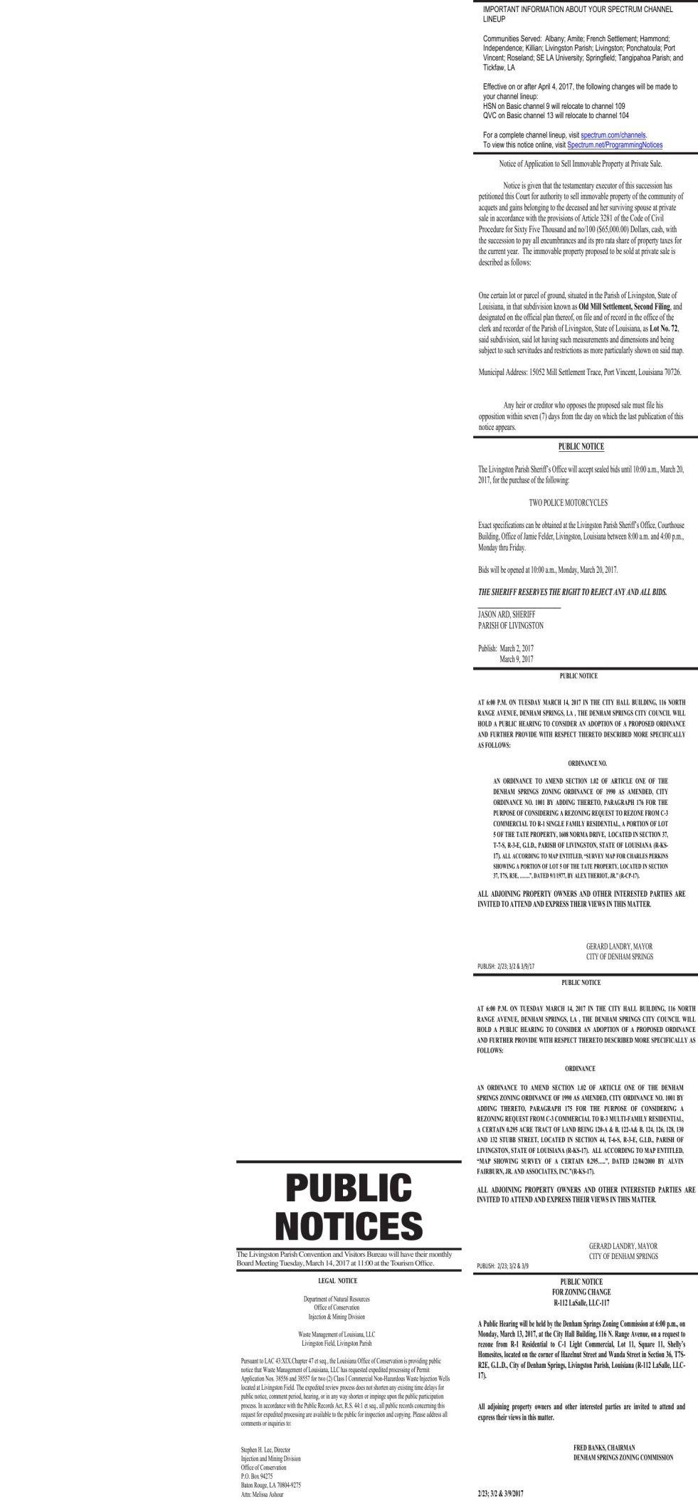 Public Notices published March 9, 2017