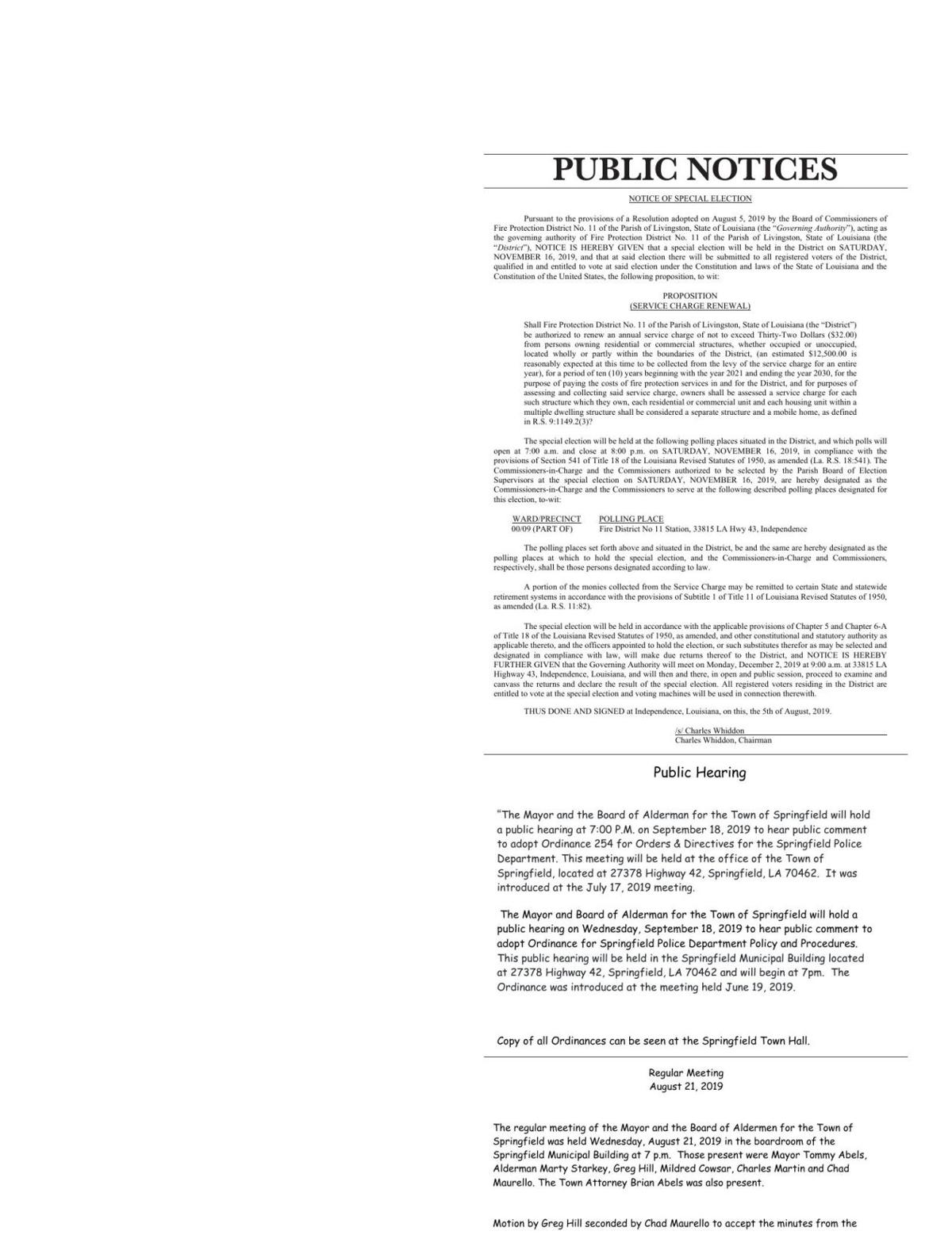 Public Notices published September 12, 2019