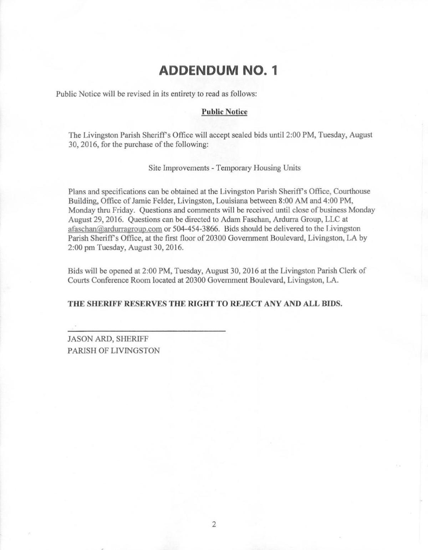 Livingston Parish Sheriff's Office public notice addendum published August 29, 2016