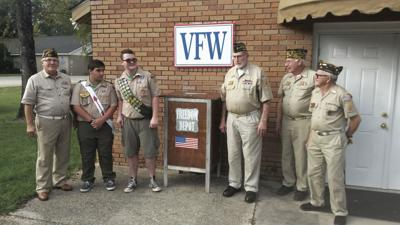 Local Boy Scout presents VFW Post 7017 with flag disposal box