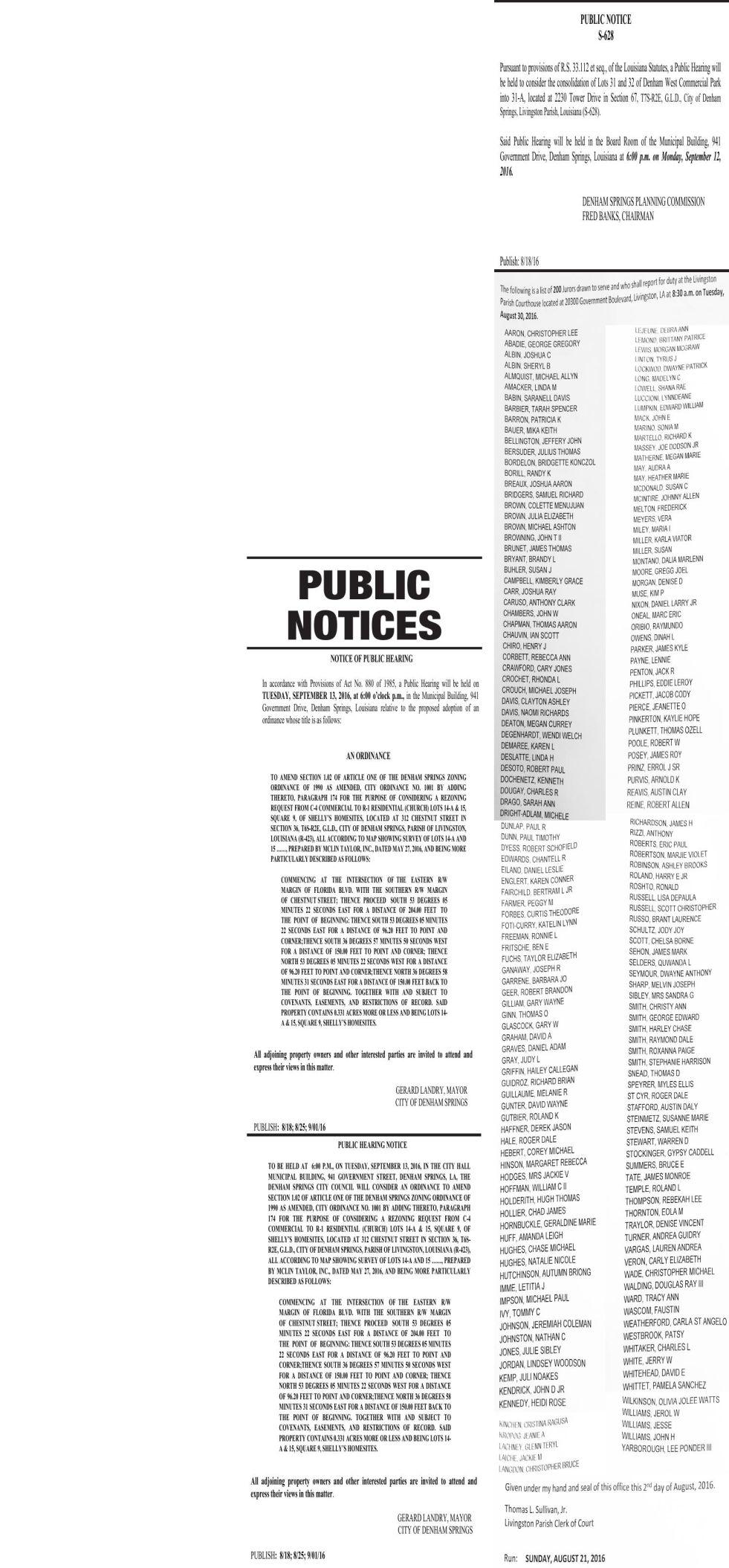 Public Notices published August 21, 2016