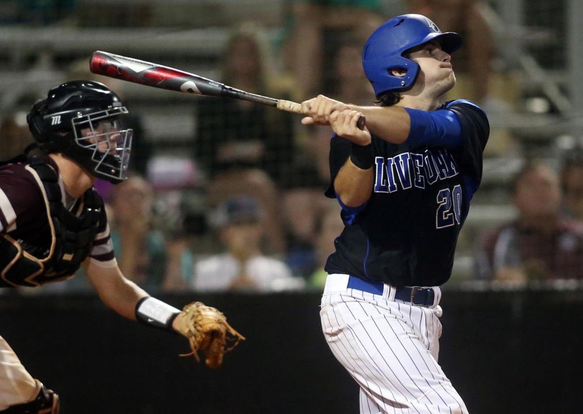 Live Oak vs Central Baseball Bailey Simoneaux swing