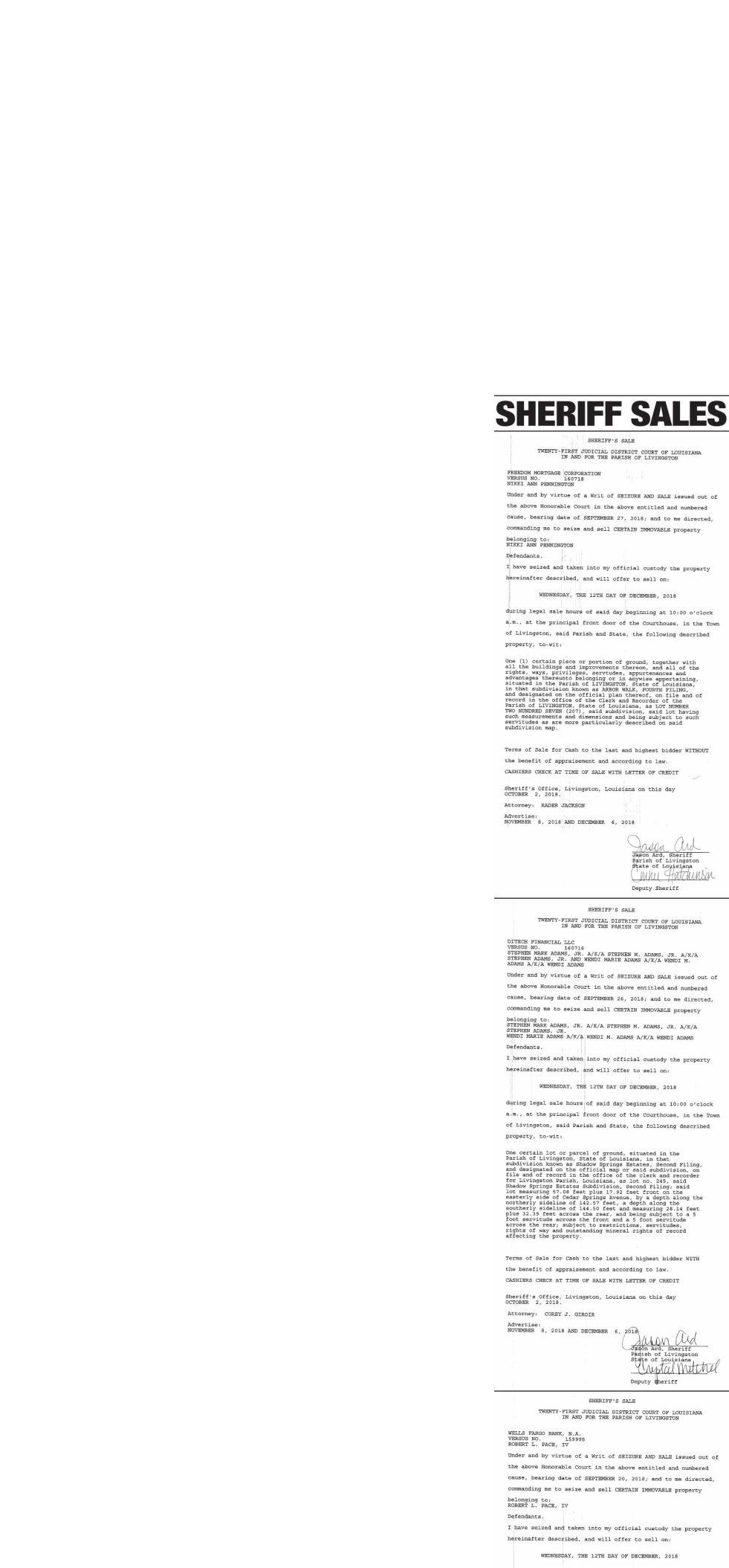 Public Notices published November 8, 2018