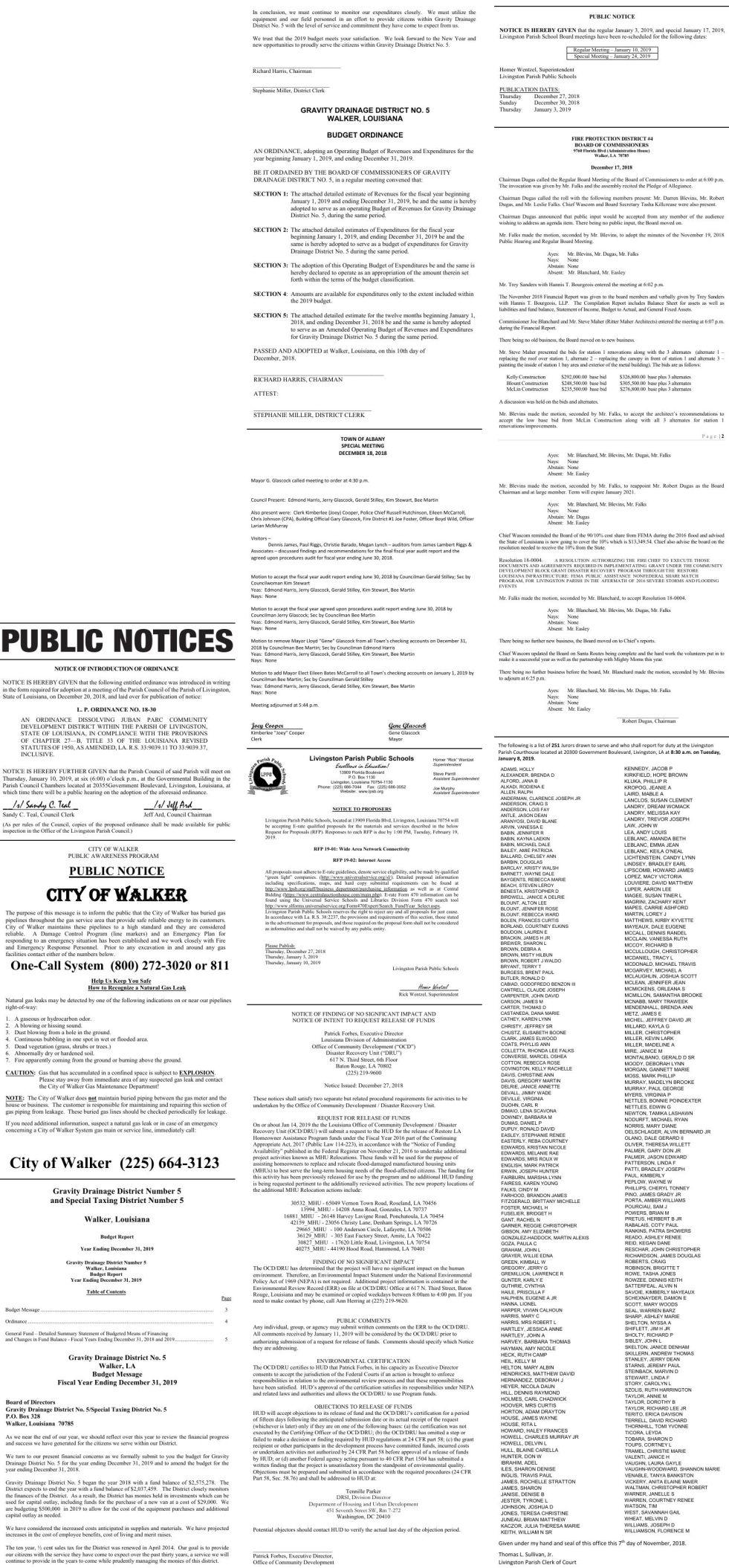 Public Notices published December 27, 2018