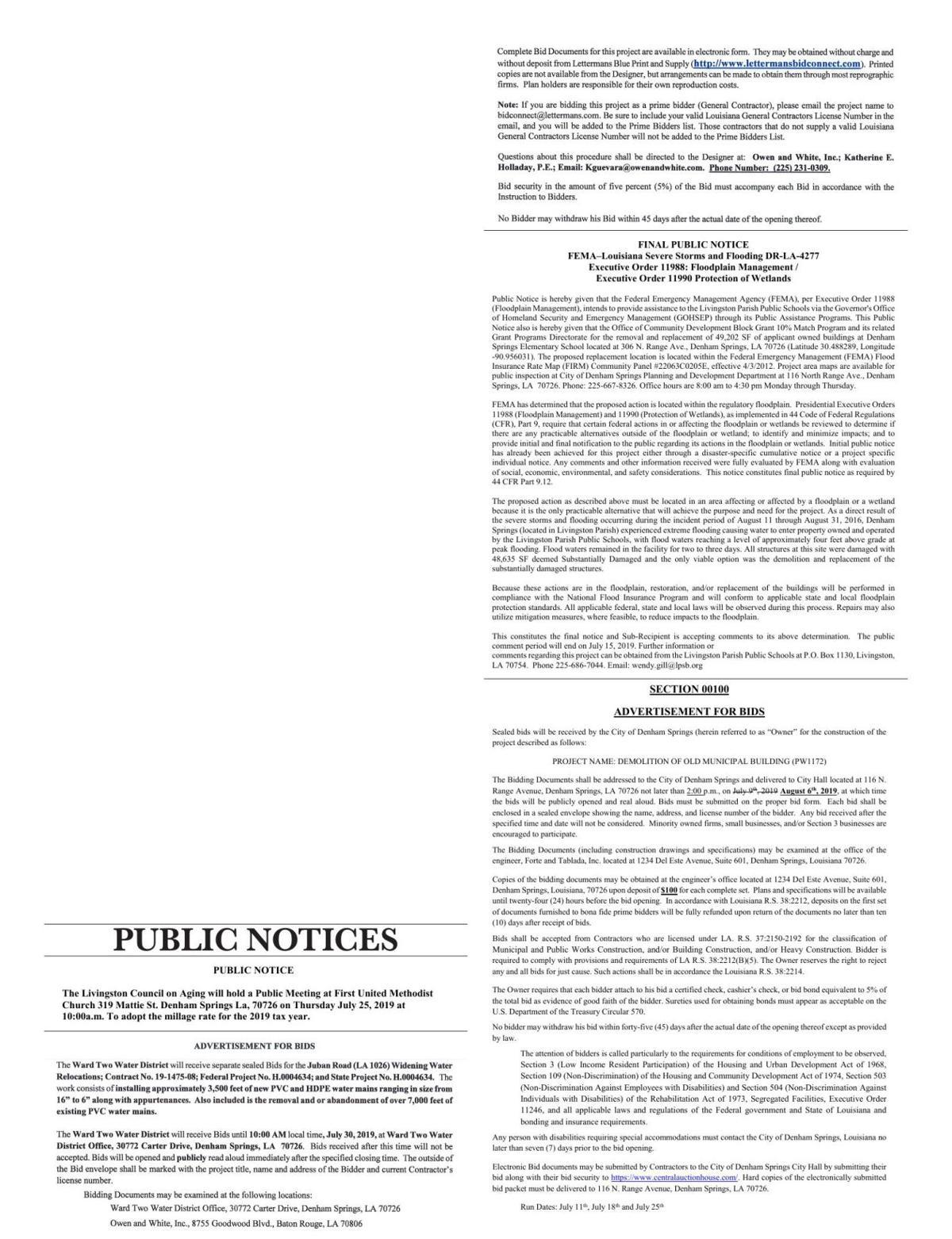 Public Notices published July 11, 2019