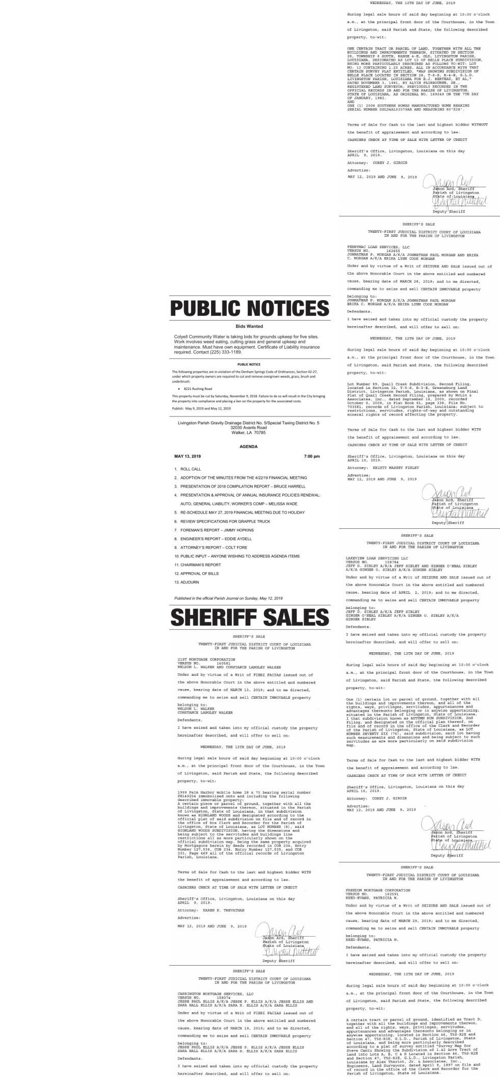Public Notices published May 12, 2019
