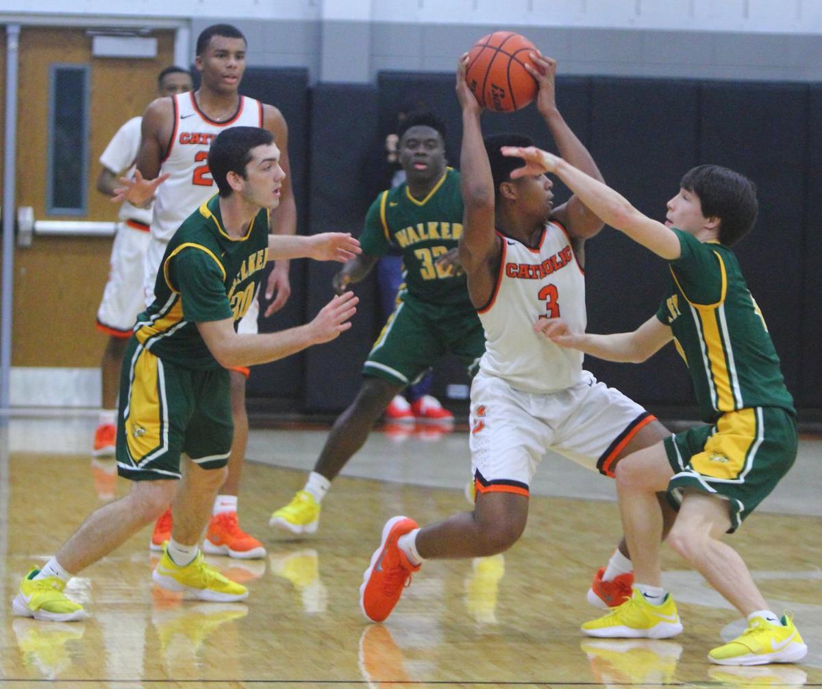 Walker & Catholic boys basketball Walker defense