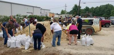 Sandbags at Denham Springs