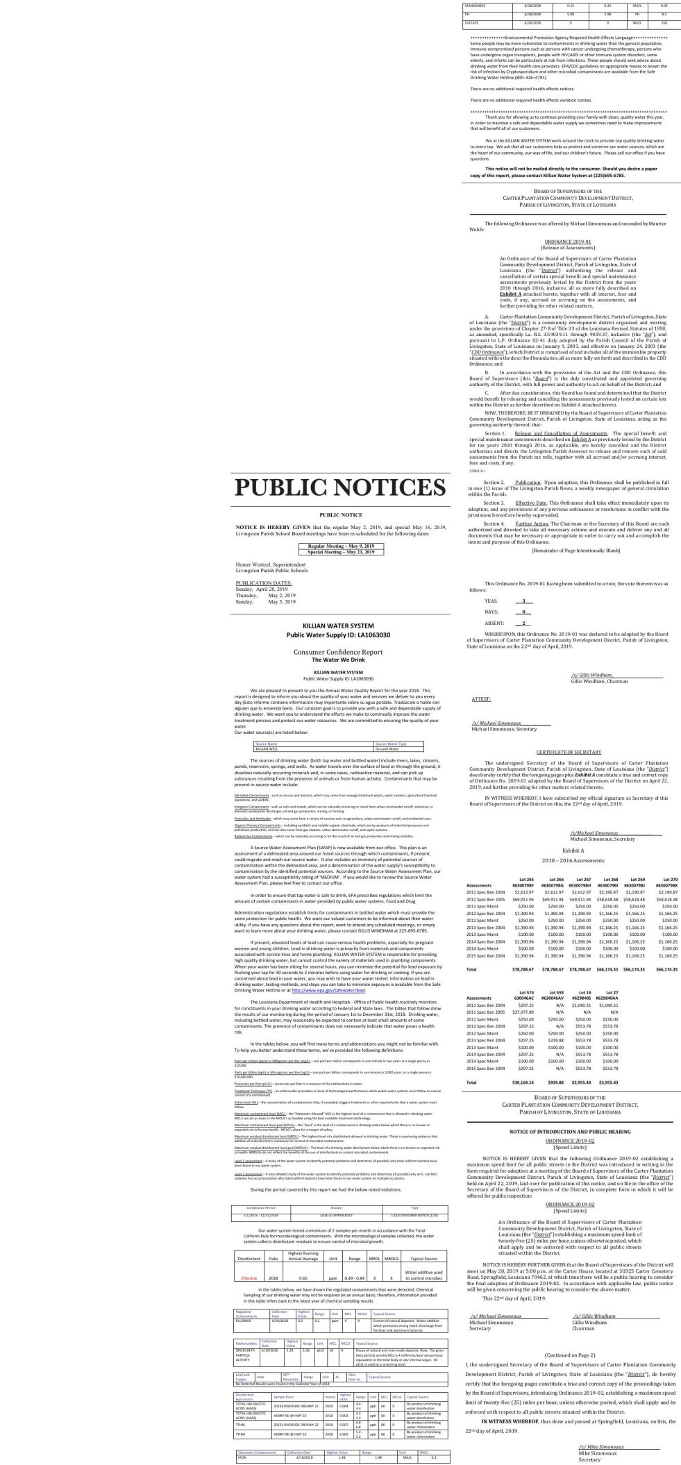 Public Notices published May 5, 2019
