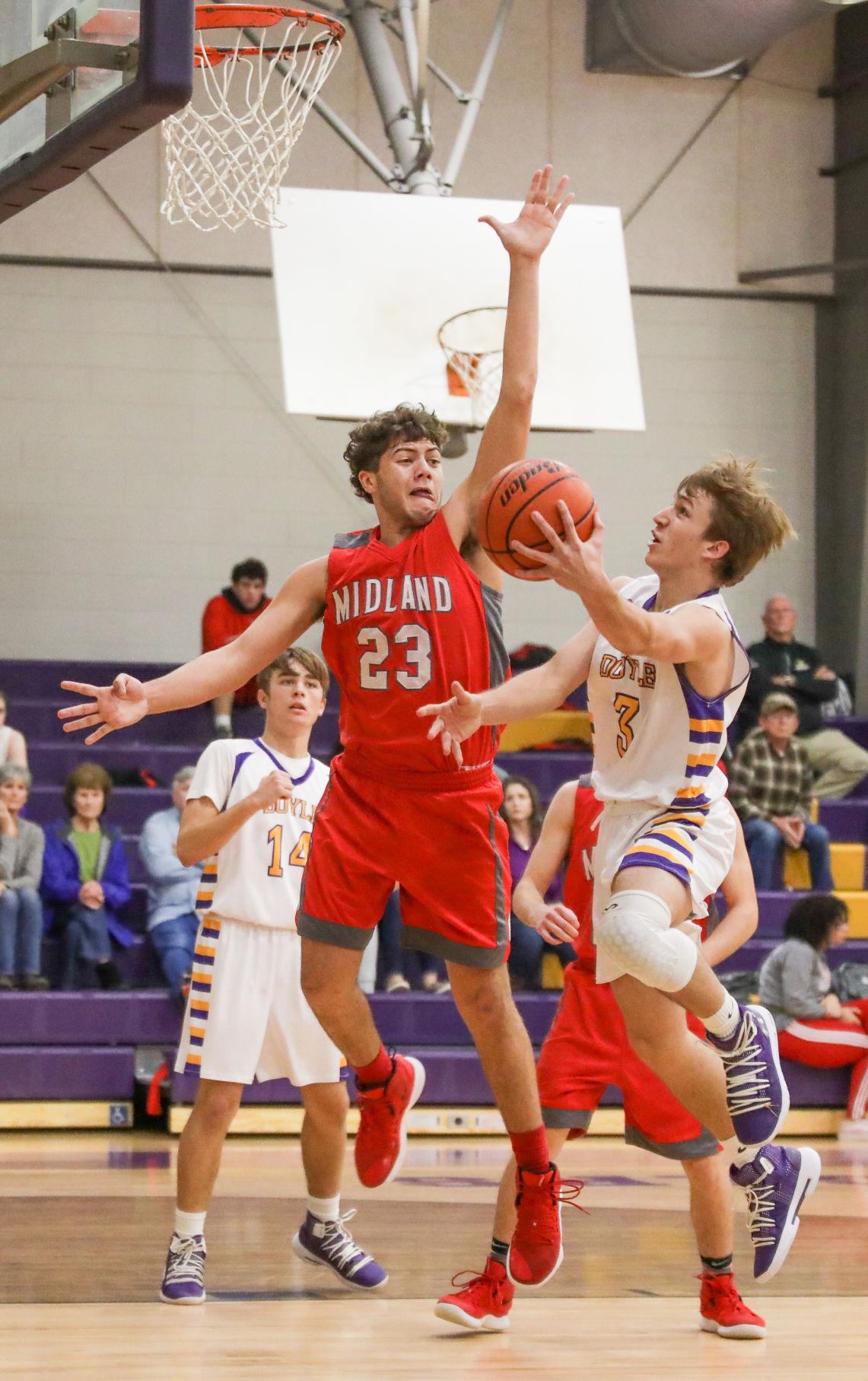 Midland at Doyle boys basketball Braden Keen Chris Breaux