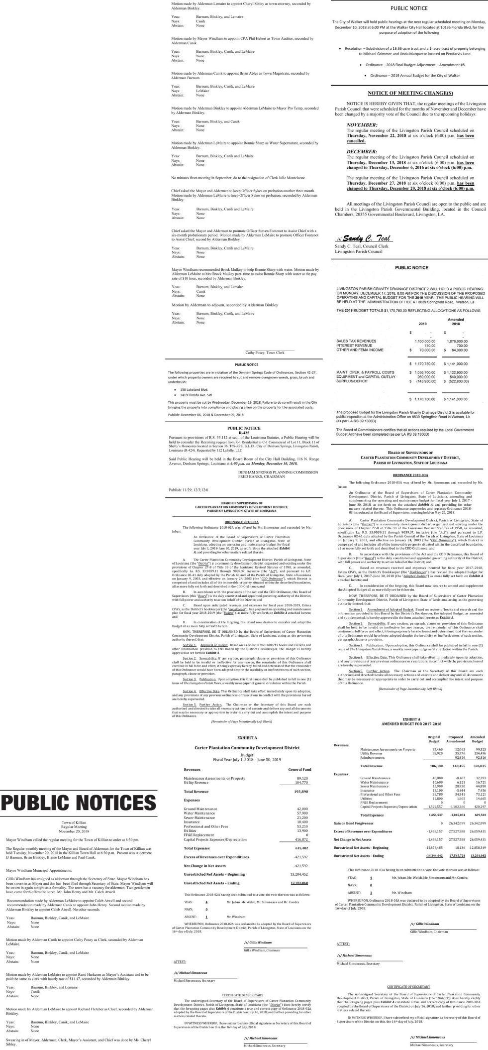 Public Notices published December 9, 2018