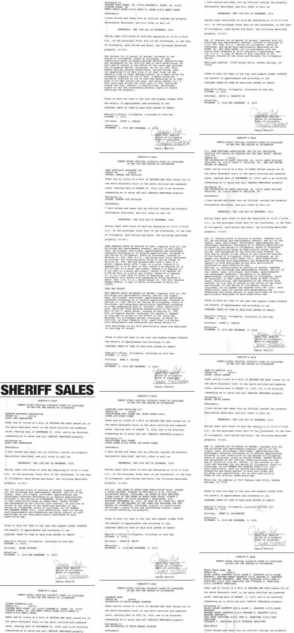 Public Notices published December 6, 2018