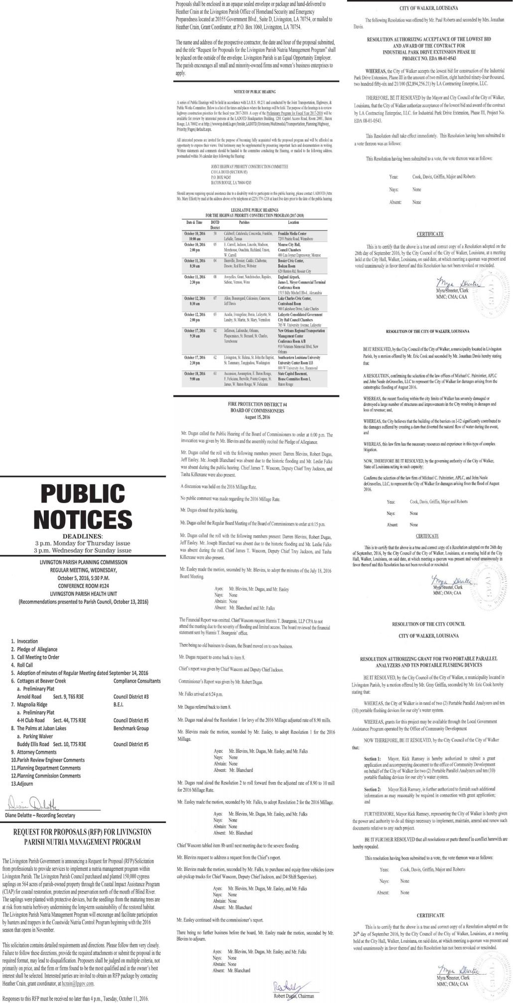 Public Notices published October 2, 2016