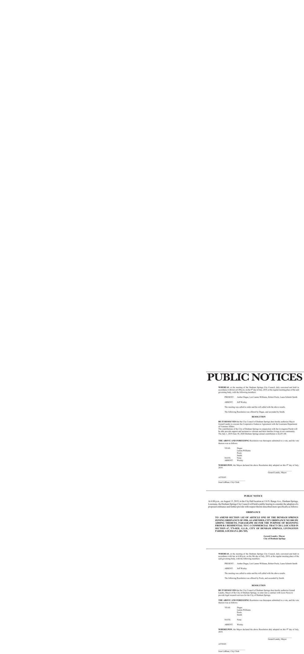 Public Notices published July 14, 2019