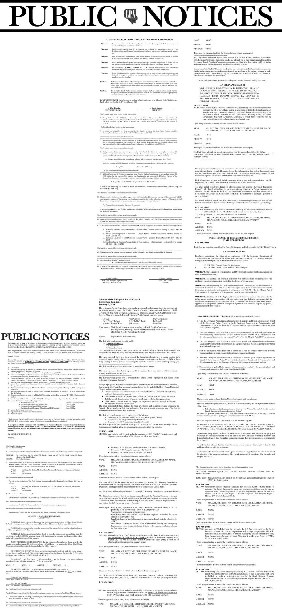 Public Notices published February 13, 2020