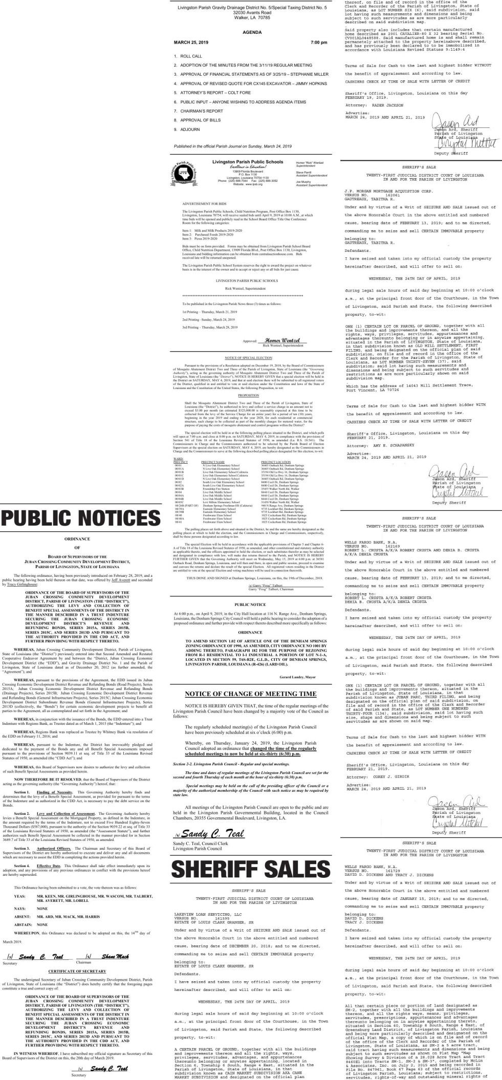 public notices published march 24  2019