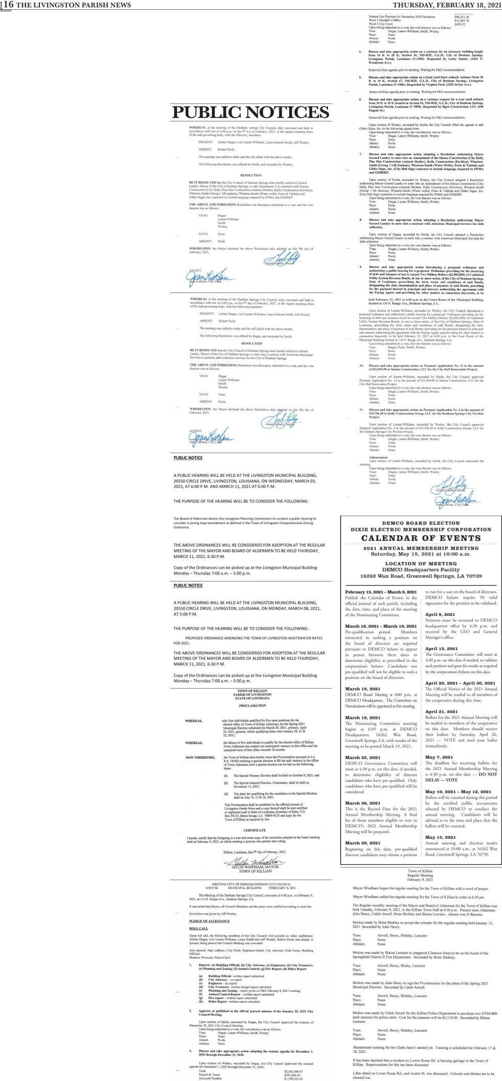 Public Notices published February 18, 2021