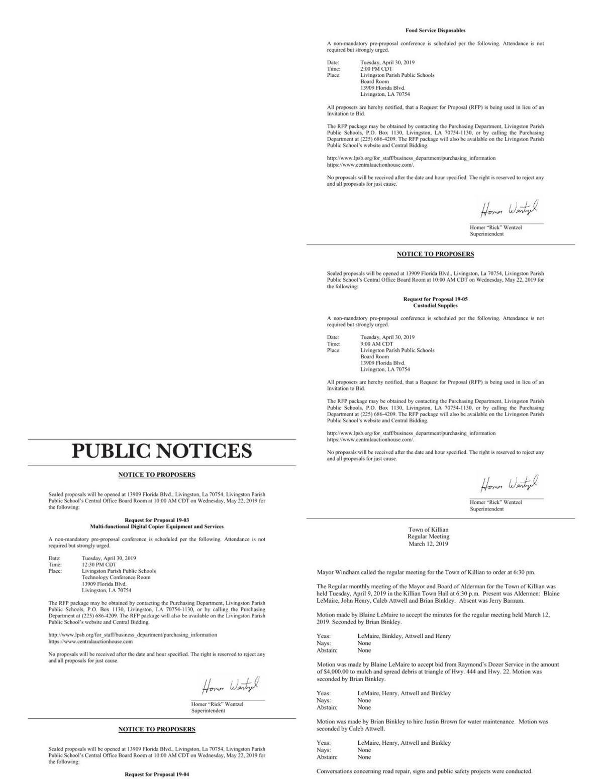 Public Notices published April 18, 2019