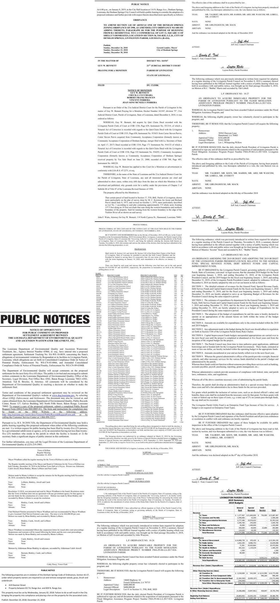 Public Notices published December 23, 2018