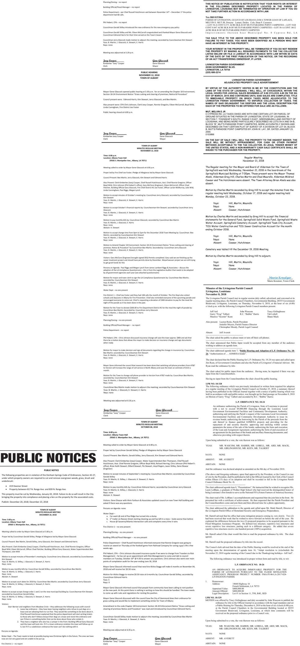 Public Notices published December 20, 2018