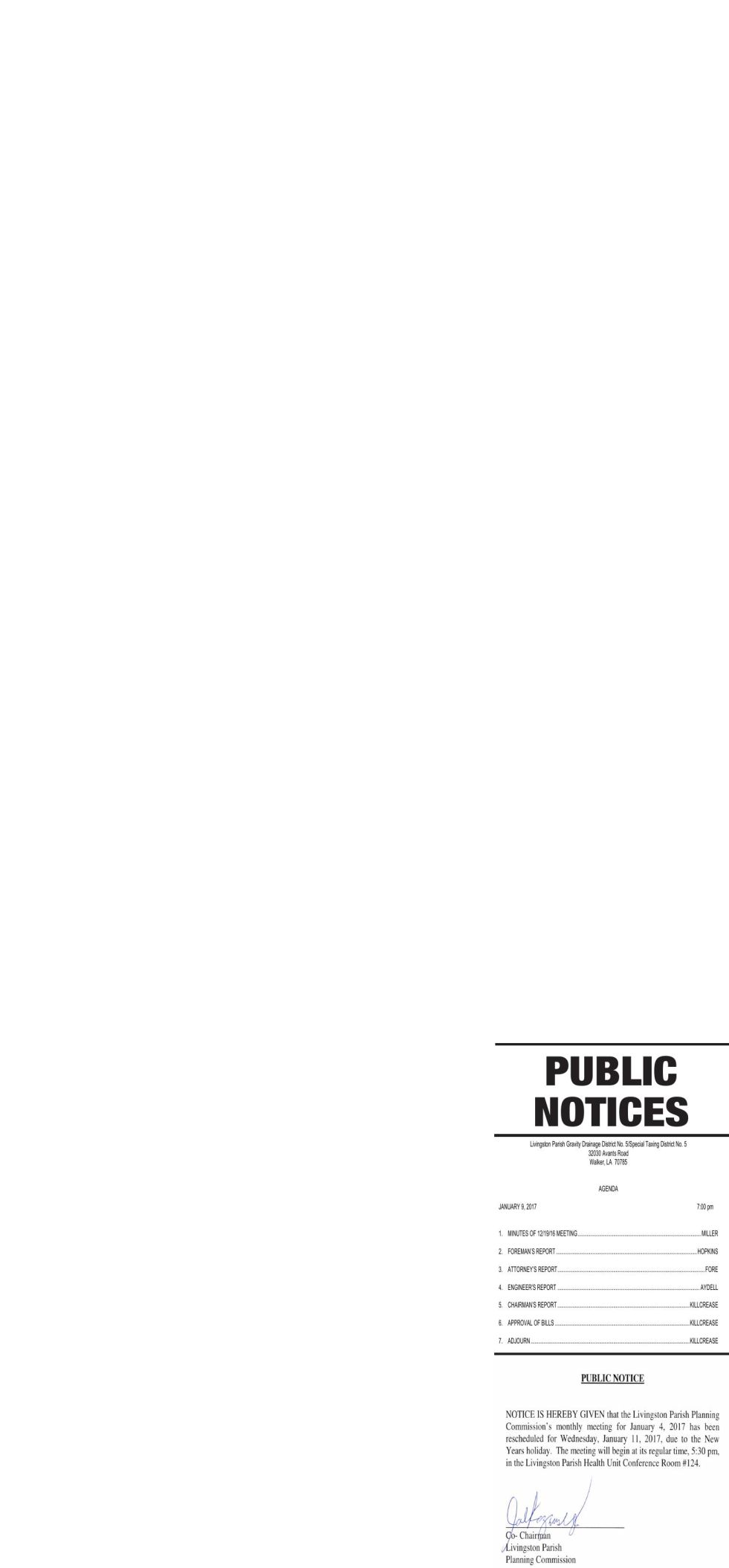 Public Notices published January 5, 2017