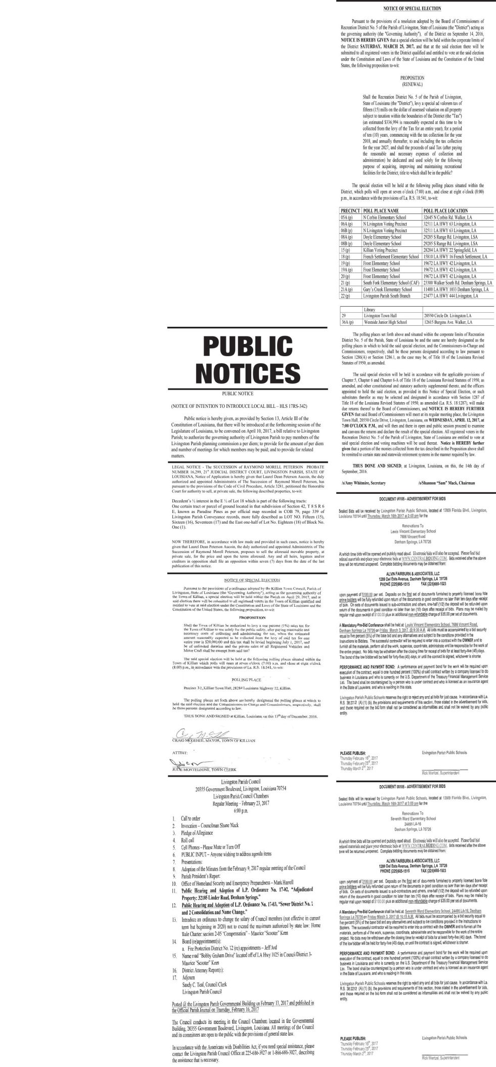Public Notices published February 16, 2017