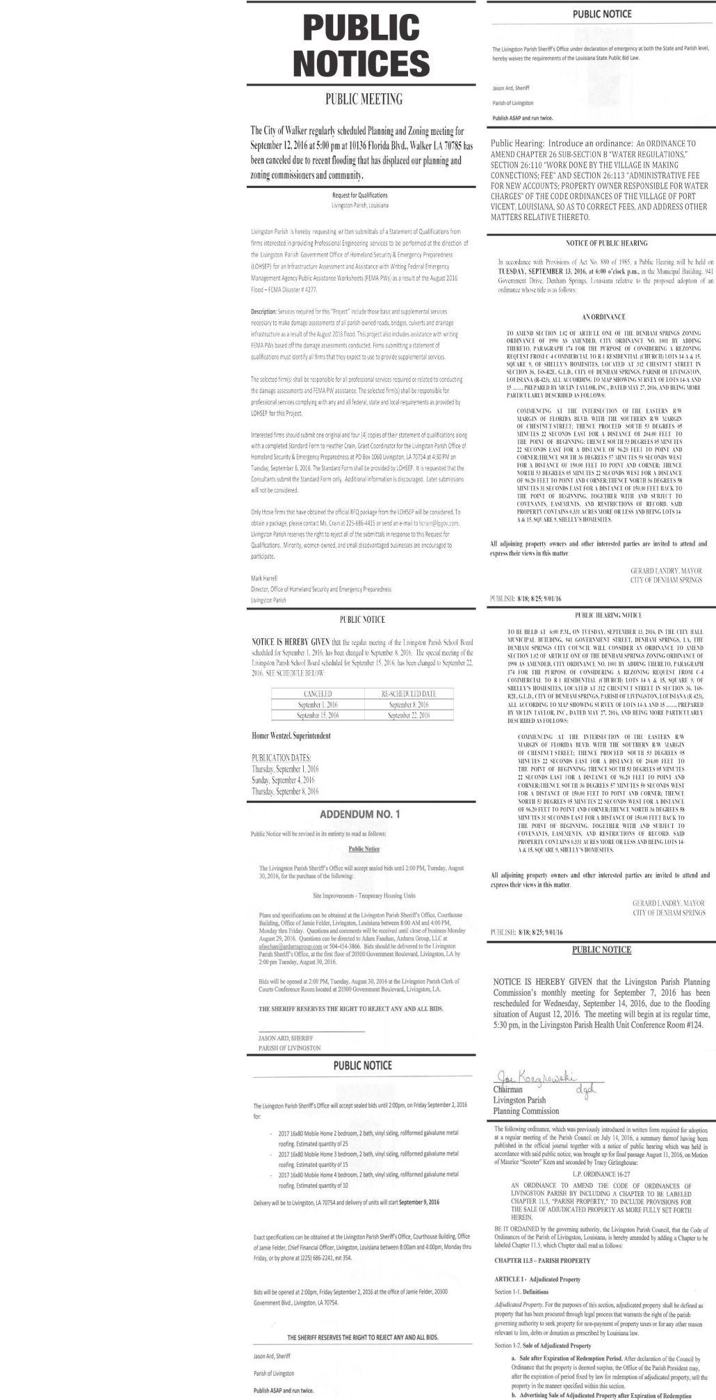 Public Notices published September 1, 2016