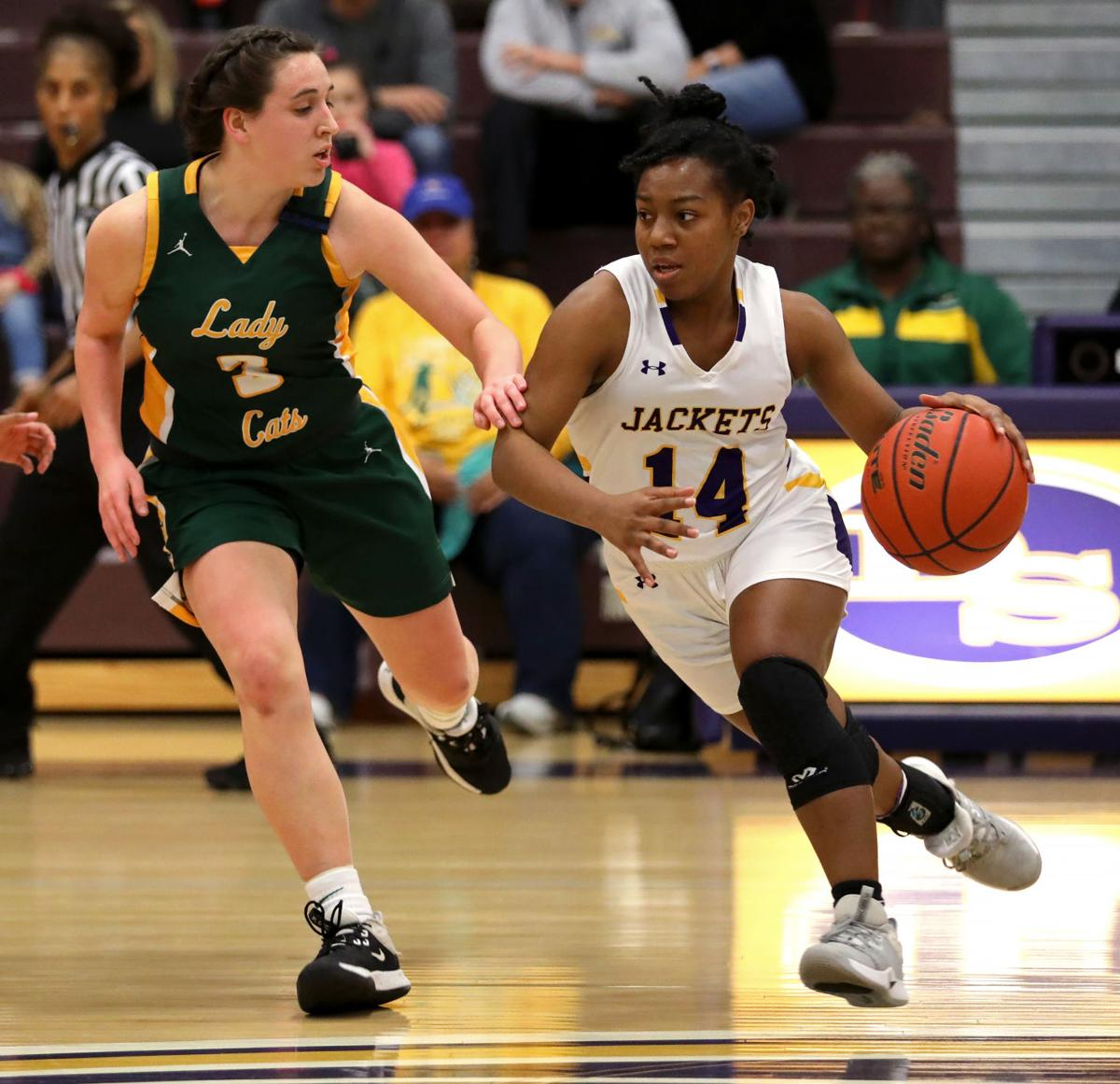 Walker at DSHS girls basketball Violett Jackson, Delaney Anderson