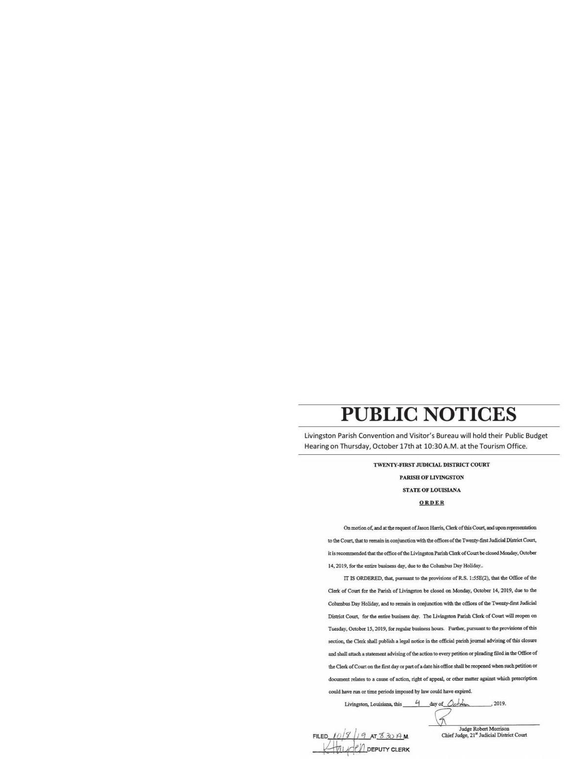Public Notices published October 10, 2019