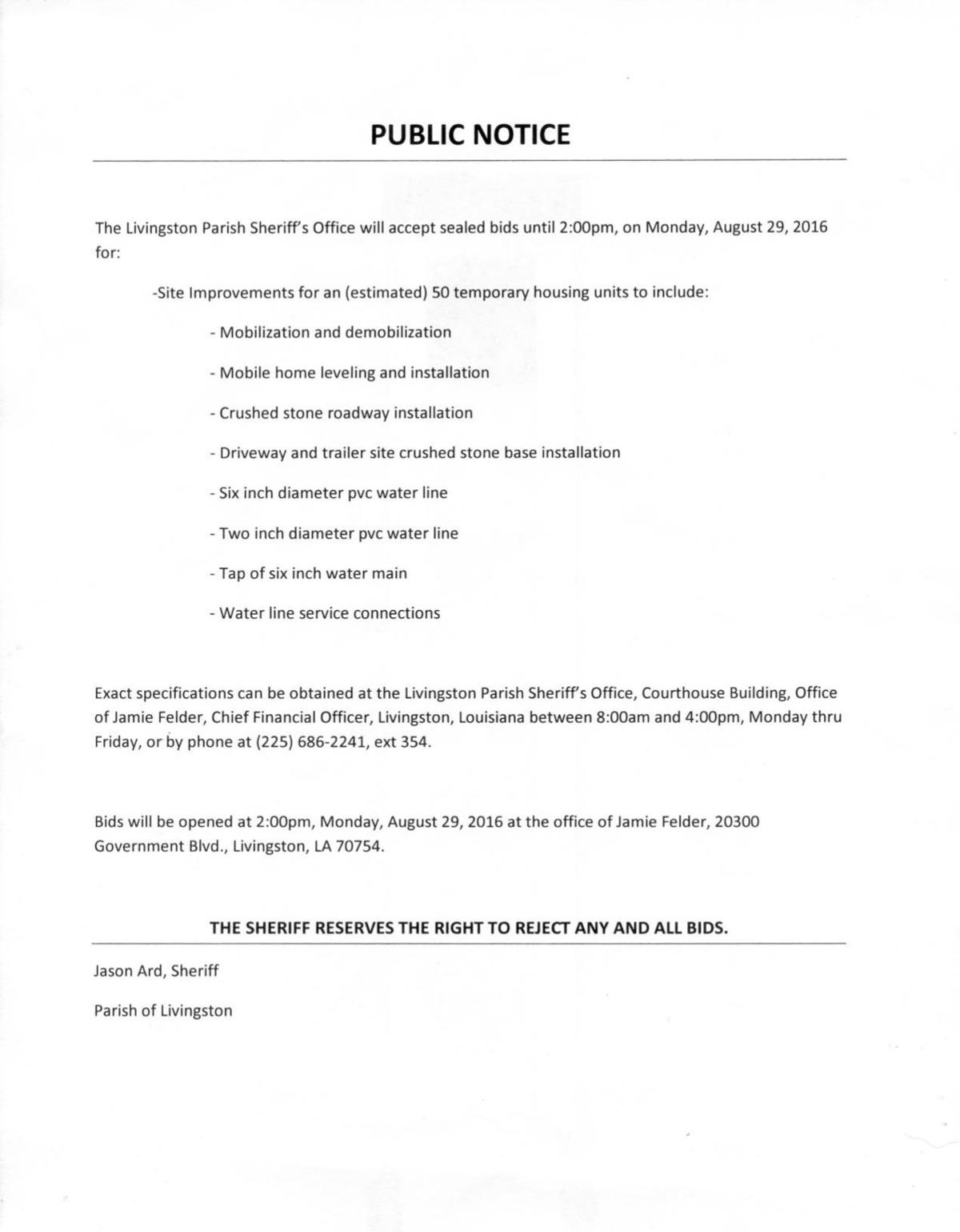 Livingston Parish Sheriff's Public Notice August 26, 2016