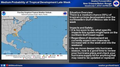 National Weather Service raises chance to 50% of tropical system
