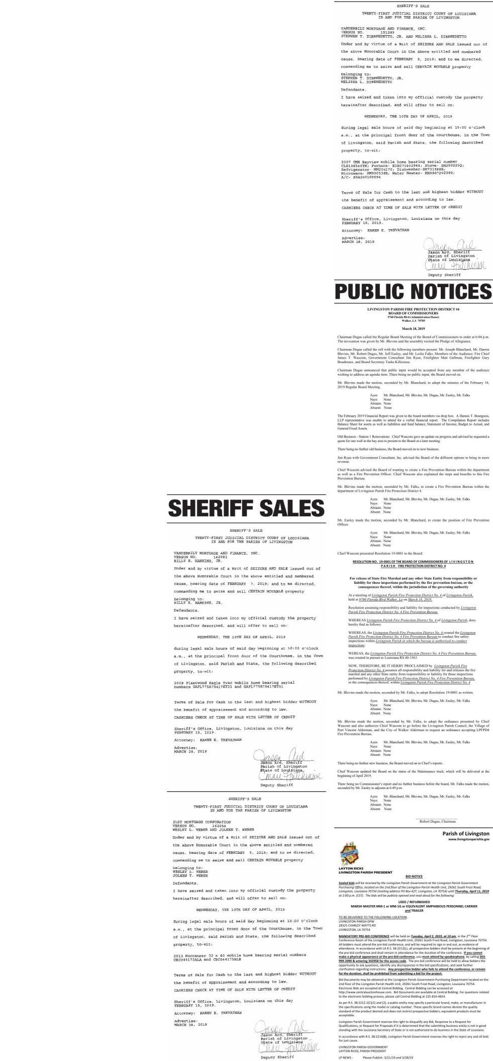 Public Notices published March 28, 2019
