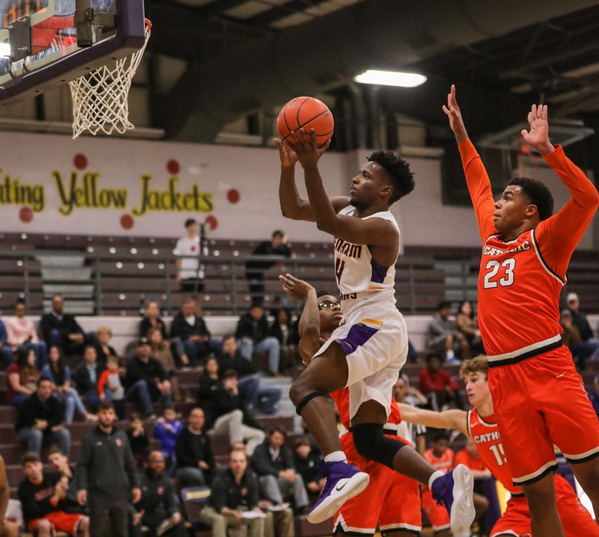 Catholic at DSHS boys basketball Micah Banks Collin Holloway