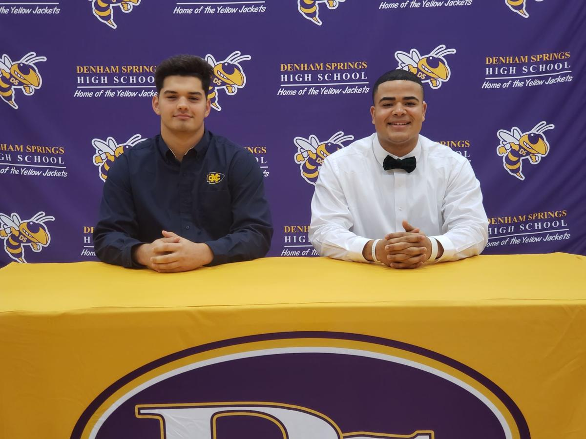 Denham Springs High's Tristan Duhe (left) and Kaydon Berard signed Wednesday.jpg