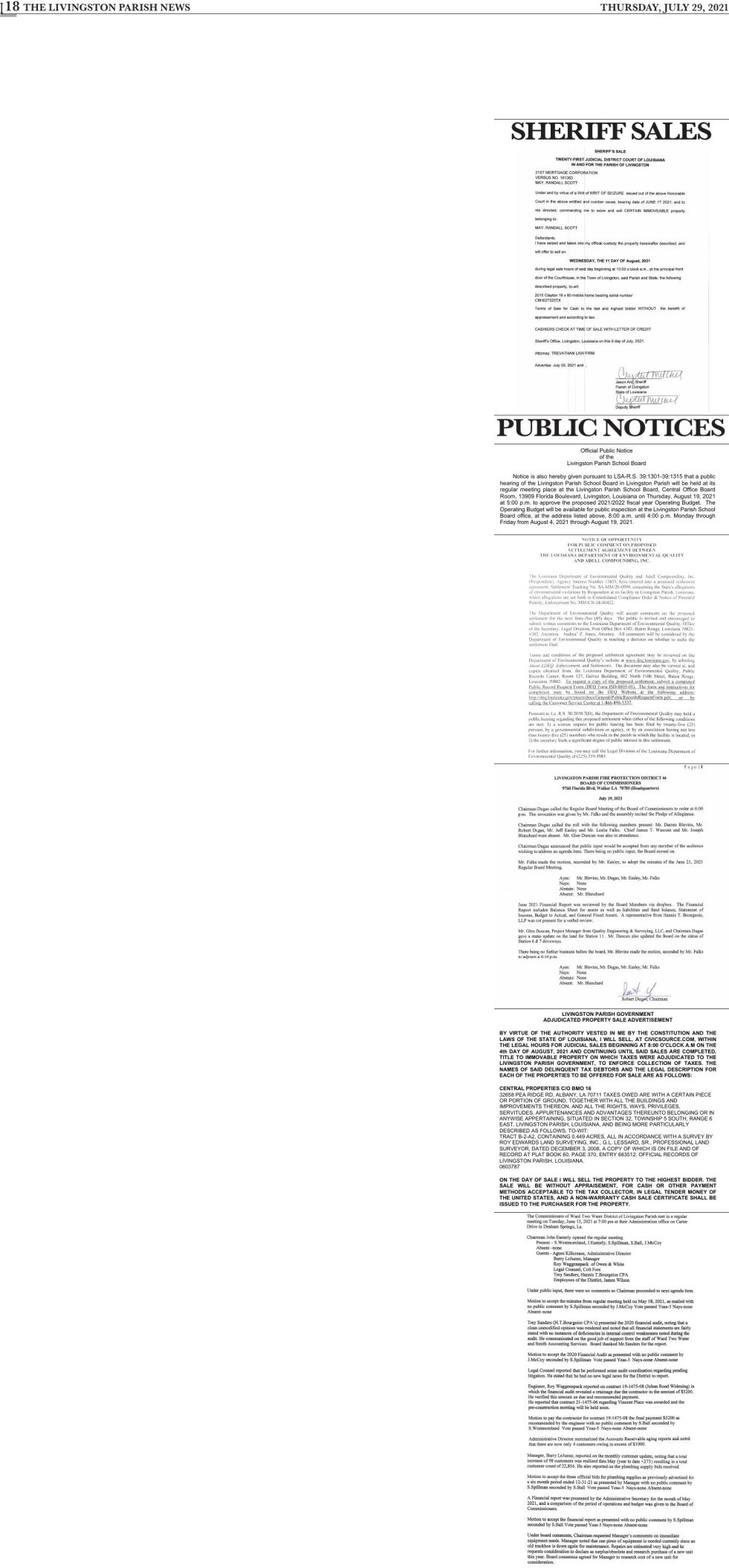 Public Notices published July 29, 2021