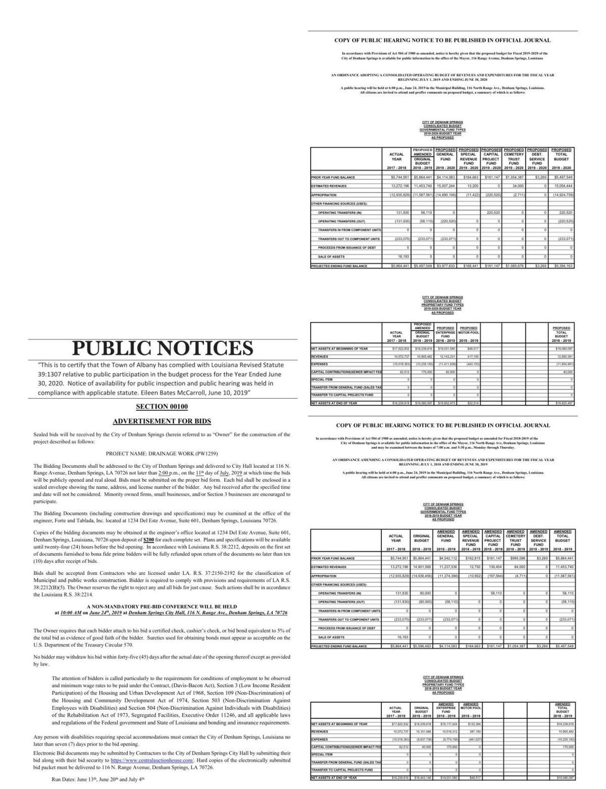 Public Notices published June 13, 2019