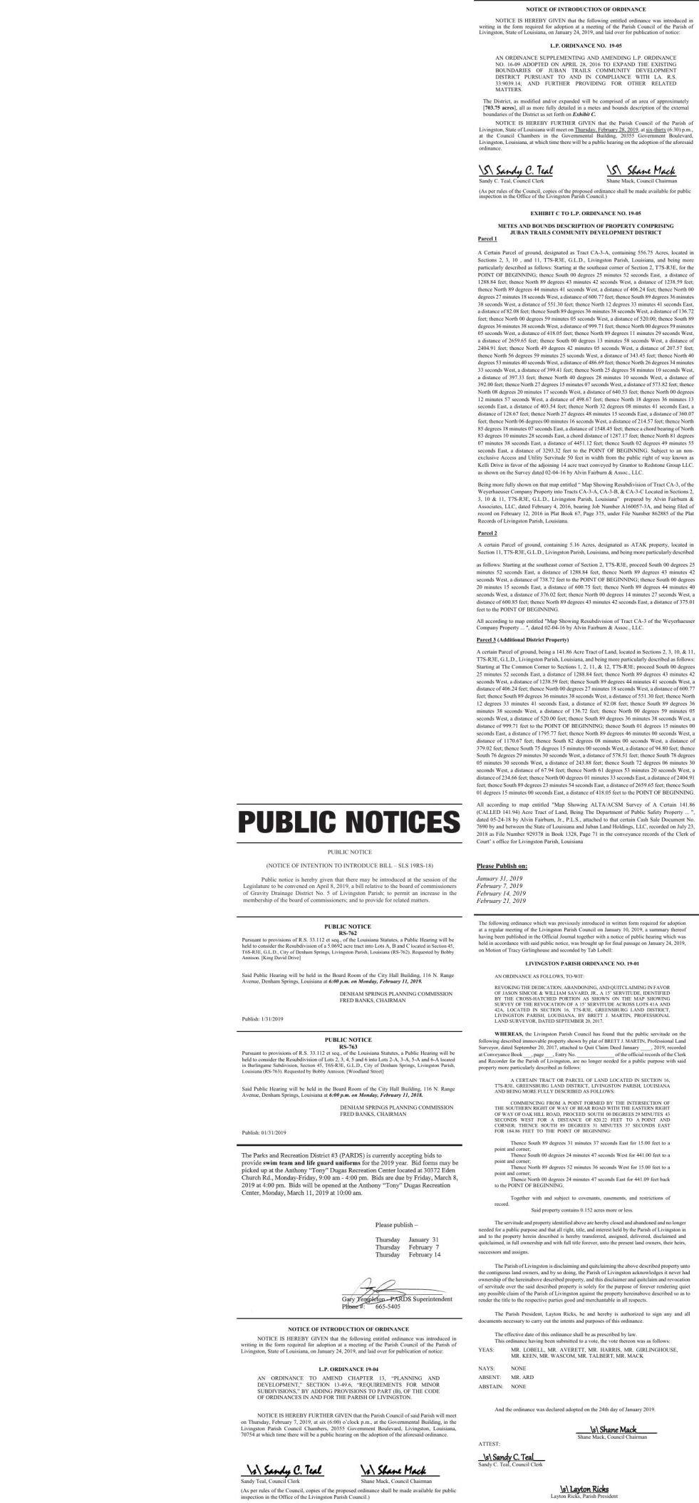 Public Notices published January 31, 2019