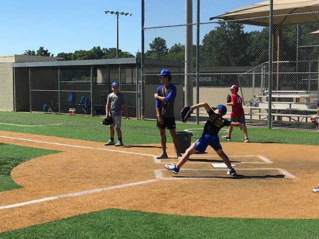 Live Oak baseball camp-throwing contest