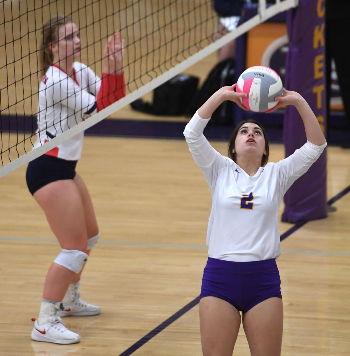 DSHS VB vs. St. Joseph's: Catherine Beasley (2) of Denham Springs prepares to set the ball..jpg