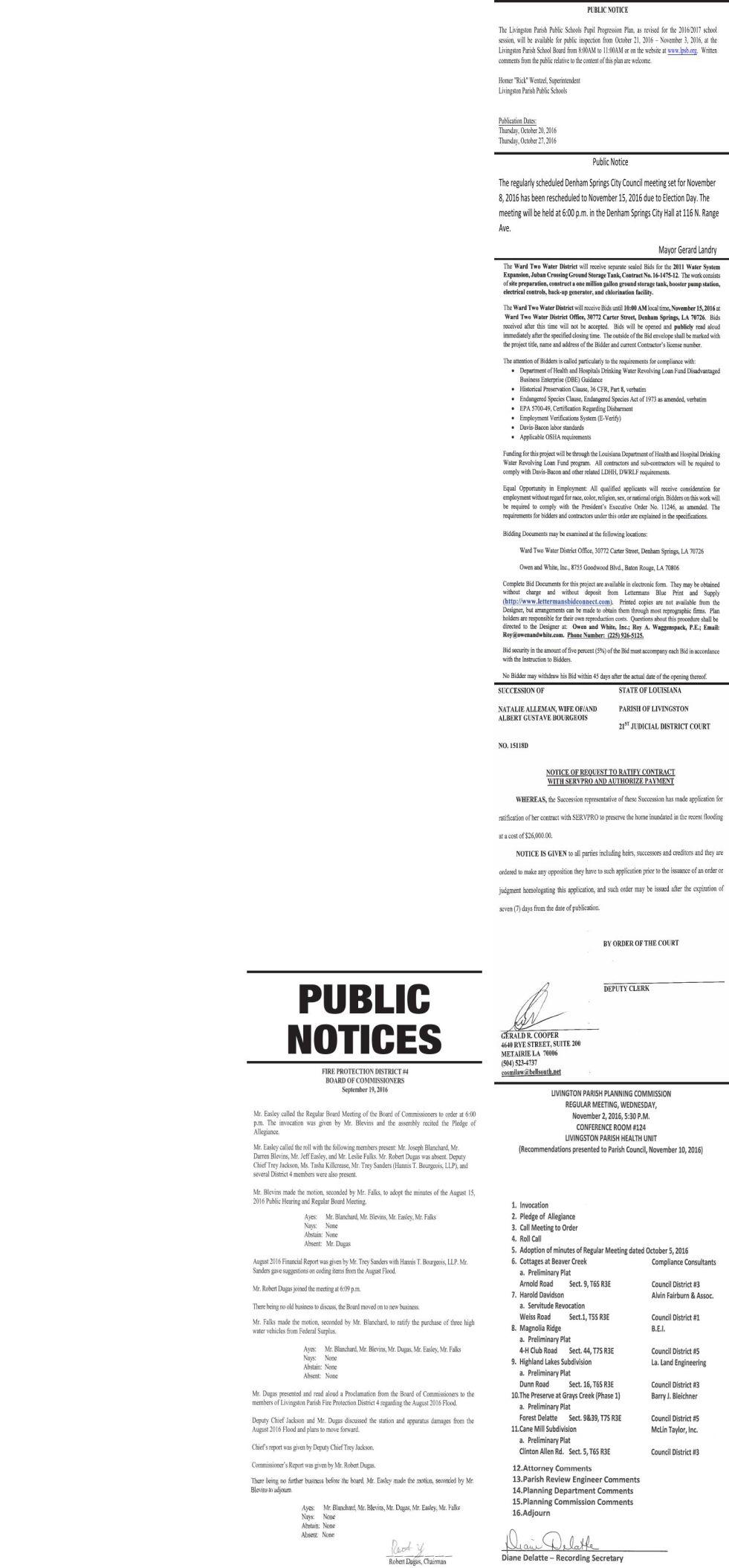 Public Notices published October 27, 2016