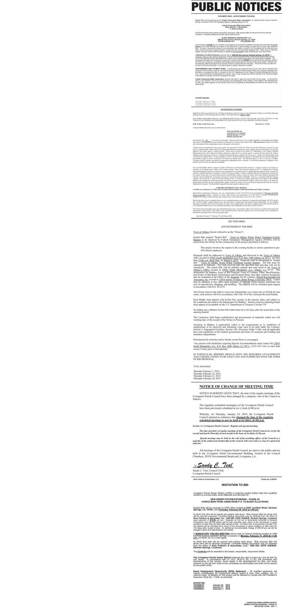 Public Notices published February 7, 2019