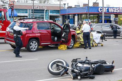 Falls motorcycle crash