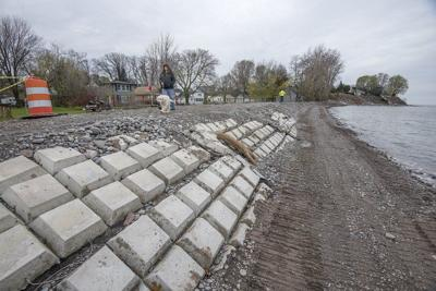 Flooding inundates Olcott storm drains, beach
