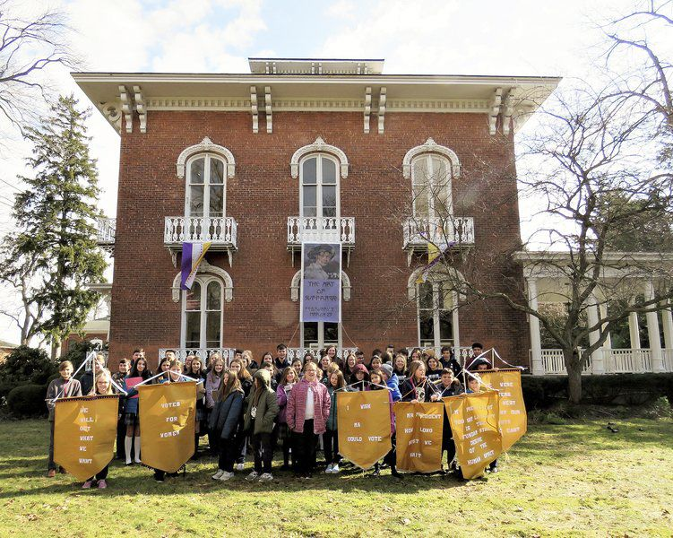 DeSales students get a guided tour of The Art of Suffrage