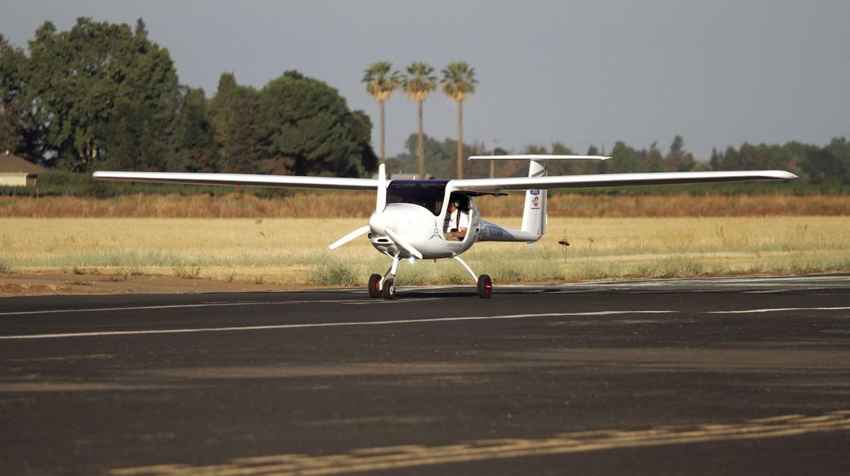 Electric airplane stops in Lodi on way to world record