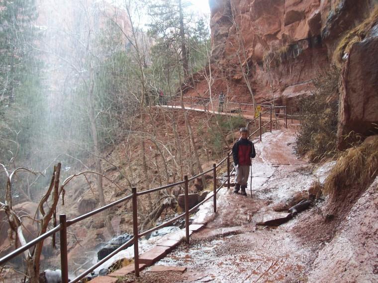 hiking thru waterfalls, Zion National Park, UT