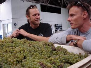 Discussing winemaking at Estate Crush