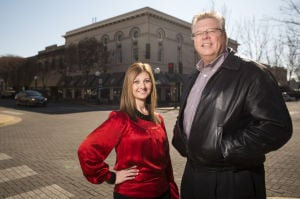 Downtown Lodi Business Partnership To Disband: Jaime Watts, left, executive director of the Downtown Lodi Business Partnership, and Pat Patrick, president and CEO of the Lodi Chamber of Commerce, announced Monday, Feb. 11, 2013, that the DLBP will close. The Chamber will take over the two largest DLBP events, the Farmers Market and the Parade of Lights.  - Dan Evans/News-Sentinel