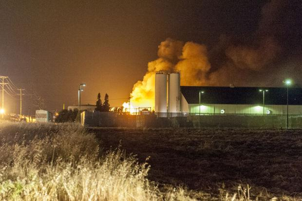 Fire at Tokay Recycling lights up the sky in Lodi