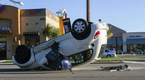 Car flips in Lodi Avenue crash